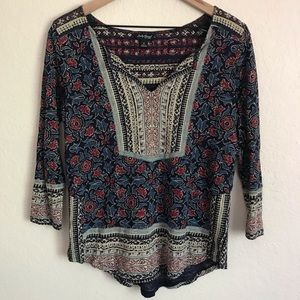 Lucky Brand Floral Boho V-Neck Top Size Small